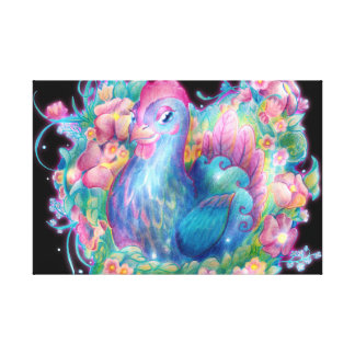 Beautiful Chicken and Flowers Canvas Print