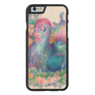Beautiful Chicken and Flowers Carved Maple iPhone 6 Case