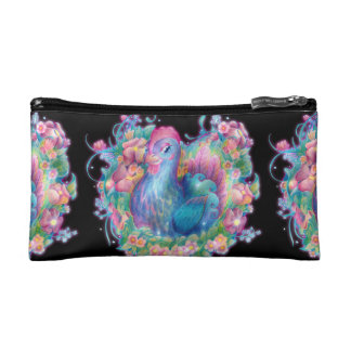 Beautiful Chicken and Flowers Cosmetic Bag