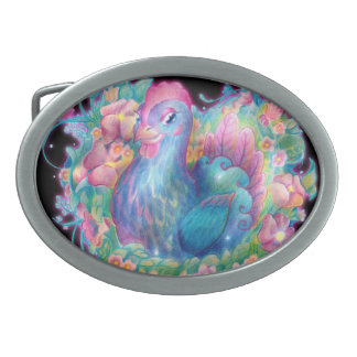 Beautiful Chicken and Flowers Oval Belt Buckle