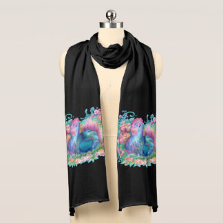 Beautiful Chicken and Flowers Scarf