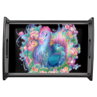 Beautiful Chicken and Flowers Serving Tray