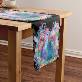 Beautiful Chicken and Flowers Short Table Runner