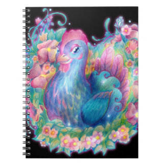 Beautiful Chicken and Flowers Spiral Notebook