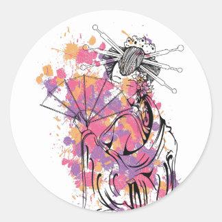 beautiful chinese girl classic round sticker