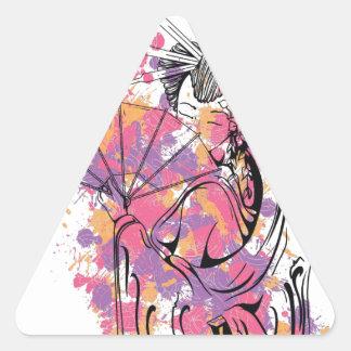 beautiful chinese girl triangle sticker