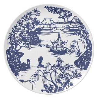 Beautiful Chinese Pagoda Landscape Party Plate