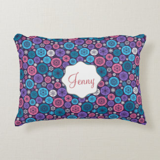 Beautiful Chistmas balls and Snowflakes on purple Accent Pillow