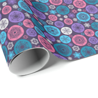 Beautiful Chistmas balls and Snowflakes on purple Wrapping Paper