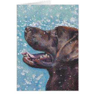 Beautiful Chocolate Lab Labrador Retriever Art Card