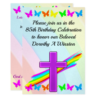 BEAUTIFUL CHRISTIAN 85TH BIRTHDAY INVITATION