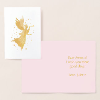 Beautiful Christmas Angel with pipe and stars Foil Card