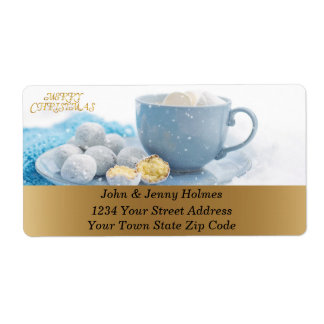 Beautiful Christmas atmosphere with hot chocolate Shipping Label