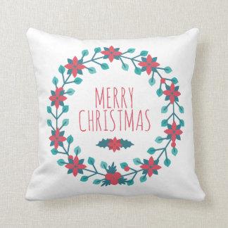 Beautiful Christmas Floral Wreath | Throw Pillow