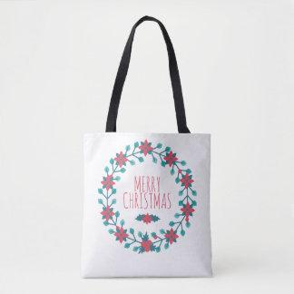Beautiful Christmas Floral Wreath Tote Bag