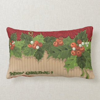 Beautiful Christmas Holly Square Pillow
