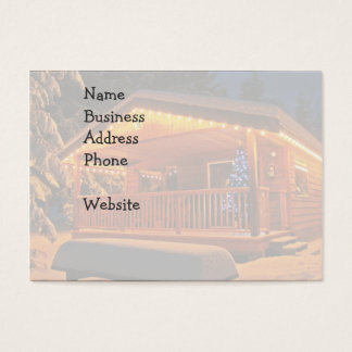 Beautiful Christmas Lights on Log Cabin in Snow Business Card