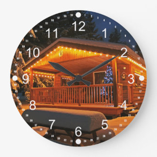 Beautiful Christmas Lights on Log Cabin in Snow Large Clock