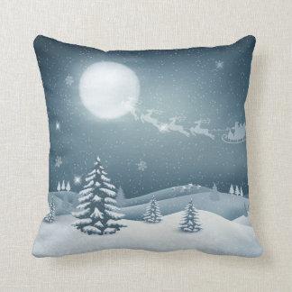 Beautiful Christmas Moonlight Throw Pillow