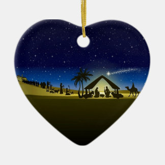 beautiful Christmas nativity image print Ceramic Heart Ornament