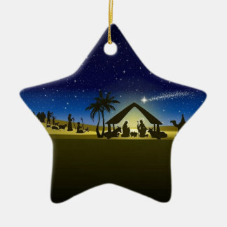 beautiful Christmas nativity image print Ceramic Star Ornament
