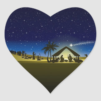 beautiful Christmas nativity image print Heart Sticker