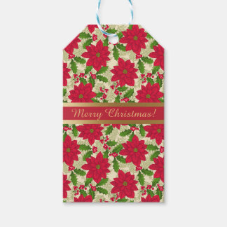 Beautiful Christmas Poinsettia, Holly, Pine branch Gift Tags
