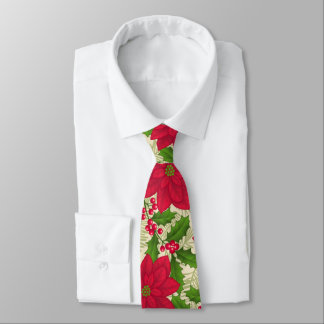 Beautiful Christmas Poinsettia, Holly, Pine branch Tie