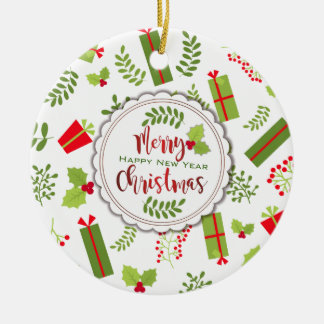 Beautiful Christmas Script Gifts Photo Ceramic Ornament