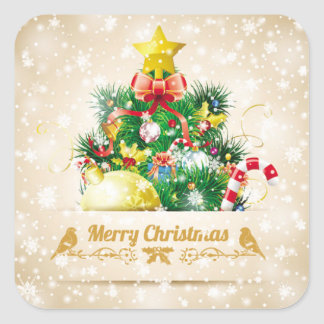 Beautiful Christmas Sticker with Sparkling Snow