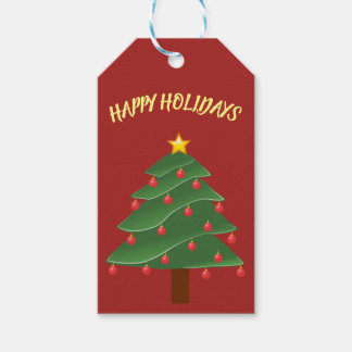 Beautiful Christmas Tree on Red Gift Tag