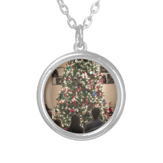 Beautiful Christmas Tree with Kids Silver Plated Necklace