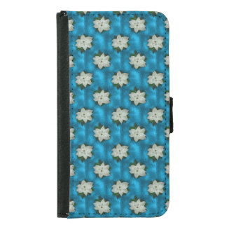 Beautiful Christmas White Poinsettia & Greenery Samsung Galaxy S5 Wallet Case