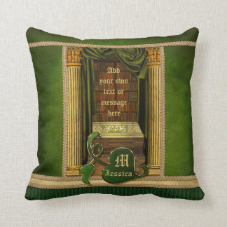 Beautiful Classical Library Old Books Green Drapes Throw Pillow