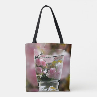 Beautiful Classy Chic Pink Flowers In Water Glass Tote Bag