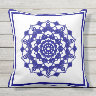 Beautiful Clean design Stylsh blue Manadla Throw Pillow