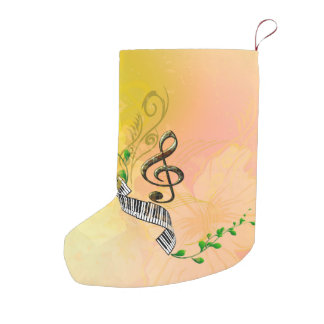 Beautiful clef with piano,flowers and leaves small christmas stocking