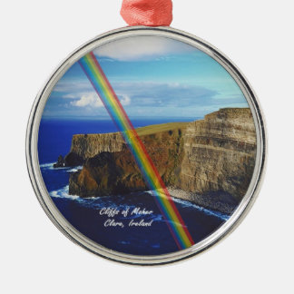 Beautiful Cliffs of Moher Design #2 Silver-Colored Round Ornament