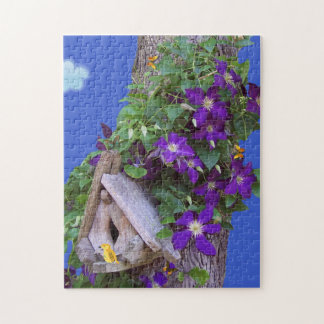 Beautiful Climbing Clematis With Birdhouse. Jigsaw Puzzle