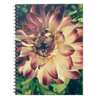 Beautiful closeup vintage flower notebook
