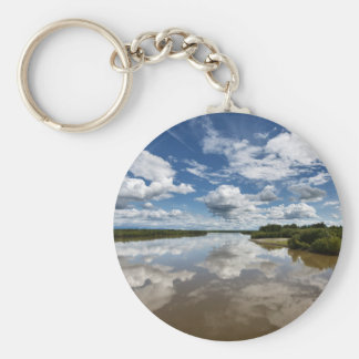 Beautiful clouds over river, reflection in water keychain