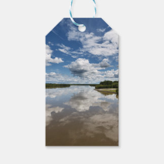 Beautiful clouds over river, reflection in water pack of gift tags