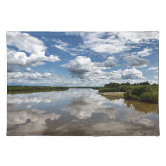 Beautiful clouds over river, reflection in water placemat