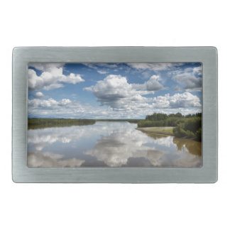 Beautiful clouds over river, reflection in water rectangular belt buckle
