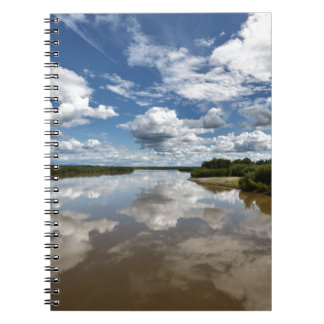 Beautiful clouds over river, reflection in water spiral notebook