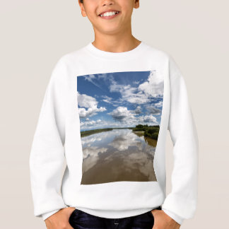 Beautiful clouds over river, reflection in water sweatshirt