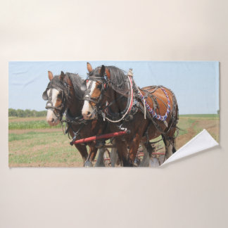 Beautiful clydesdale horses ploughing bath towel