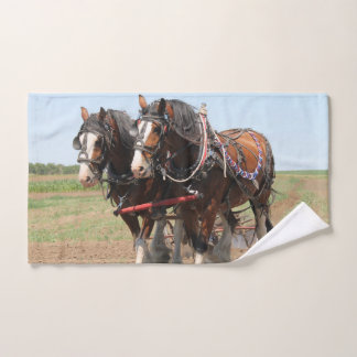 Beautiful clydesdale horses ploughing hand towel