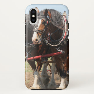 Beautiful clydesdale horses ploughing iPhone x case
