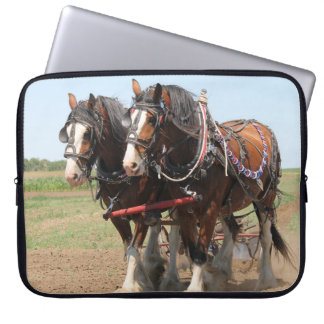 Beautiful clydesdale horses ploughing laptop sleeve